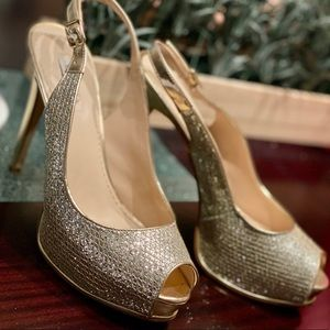 Sparkly Guess Heels, sling back peep toe